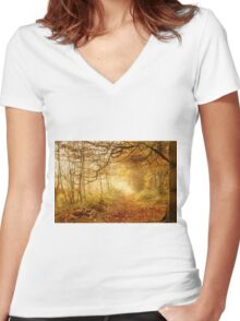 Autumn Woodland Women's Fitted V-Neck T-Shirt