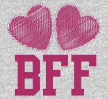 BFF with cute love hearts Kids Tee