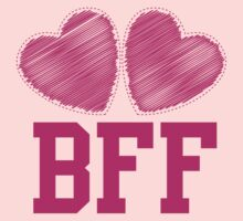 BFF with cute love hearts Kids Tee