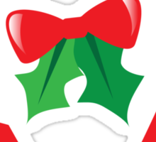 Candy canes candy for Christmas with a bow Sticker