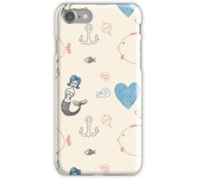 Seamless sea pattern. Vector illustration with marine elements. iPhone Case/Skin