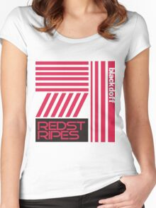 red stripped Women's Fitted Scoop T-Shirt