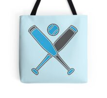 Two baseball bats crosses with baseball in blue Tote Bag