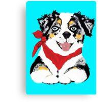 Blue Merle Aussie Pup Canvas Print