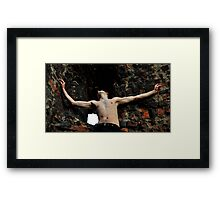 man  on the bricke wall Framed Print