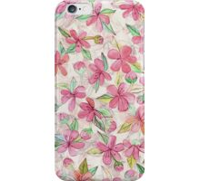 Pink Painted Blossom Pattern iPhone Case/Skin