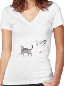 Play it cool sumi-e painting Women's Fitted V-Neck T-Shirt