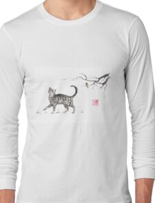 Play it cool sumi-e painting Long Sleeve T-Shirt