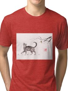 Play it cool sumi-e painting Tri-blend T-Shirt