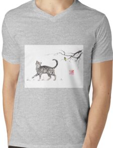 Play it cool sumi-e painting Mens V-Neck T-Shirt