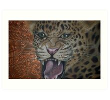 Leopard Attack Art Print