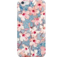 Shabby Chic Hibiscus Patchwork Pattern in Pink & Blue iPhone Case/Skin