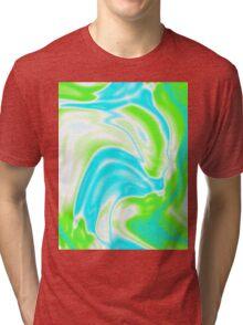 trendy watercolor spring bright aqua blue neon green swirls Tri-blend T-Shirt