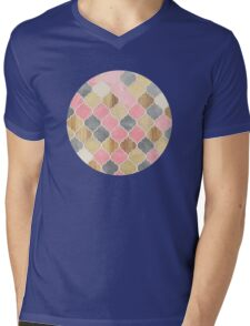 Silver Grey, Soft Pink, Wood & Gold Moroccan Pattern Mens V-Neck T-Shirt