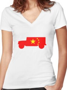 BUMMER HUMMER • Mao in China Women's Fitted V-Neck T-Shirt