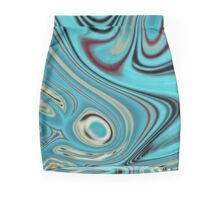 abstract beach marble pattern teal turquoise swirls Pencil Skirt