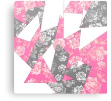Pink and Grey Rose Geometric Pattern Canvas Print