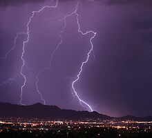 Mountains, City Lights and Lightning Strikes by Bo Insogna