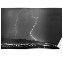 Mountains, City Lights and Lightning Bolts. Poster