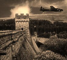 Lancaster over Derwent Dam by Jon Tait