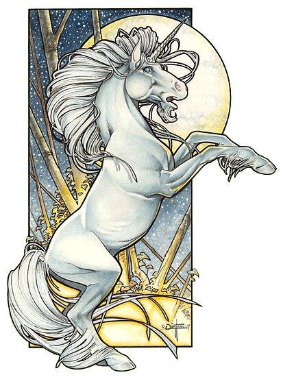 Art Nouveau Unicorn Coloring Pages