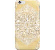 White Gouache Doodle on Gold Paint iPhone Case/Skin