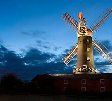 Skidby Mill at moonlight by Jon Tait