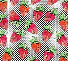 Red Watercolor Strawberries on Black & White Dots by Blkstrawberry