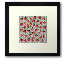 Red Watercolor Strawberries on Black & White Dots Framed Print
