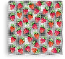 Red Watercolor Strawberries on Black & White Dots Canvas Print