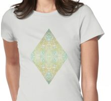 Mint & Gold Effect Diamond Doodle Pattern Womens Fitted T-Shirt