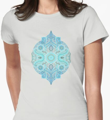 Through Ocean & Sky - turquoise & blue Moroccan pattern Womens Fitted T-Shirt