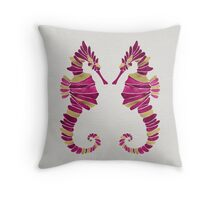 Seahorse – Pink & Gold Throw Pillow