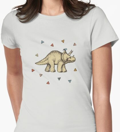 Triceratops & Triangles Womens Fitted T-Shirt