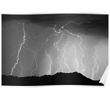 Massive Mountain Lightning Storm Poster