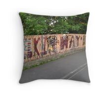 Silkin way bridge graffiti Throw Pillow