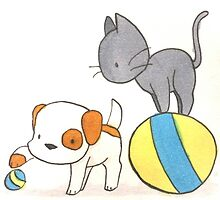 Dog and Cat Play Time by artbyabby