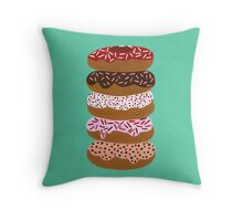 Donuts Stacked on Mint Throw Pillow