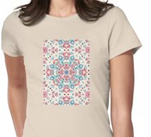 Pastel Blue, Pink & Red Watercolor Floral Pattern on Cream Womens Fitted T-Shirt