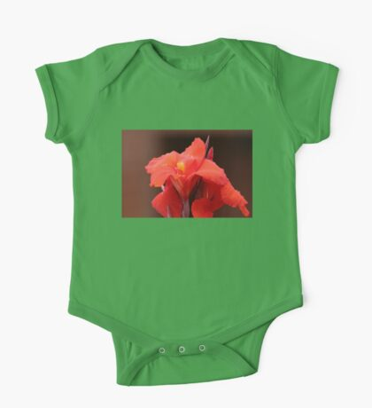 Red Canna Lilies One Piece - Short Sleeve