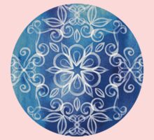 White Floral Painted Pattern on Blue Watercolor Kids Clothes