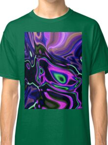 modern girly abstract laser rays neon green purple swirls Classic T-Shirt