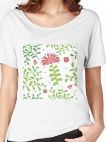 Elegance Seamless pattern with flowers, vector floral illustration in vintage style Women's Relaxed Fit T-Shirt