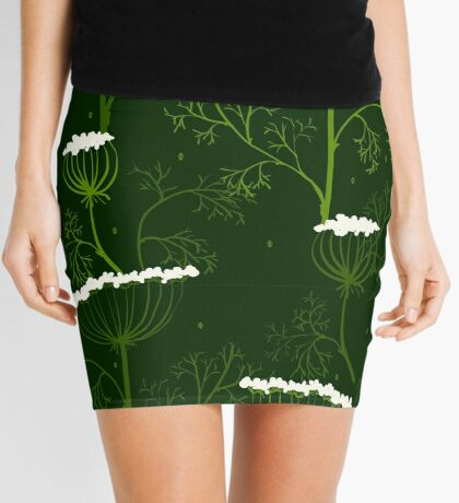 Elegance Seamless pattern with flowers, vector floral illustration in vintage style, Ukraine, dill Mini Skirt