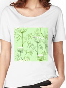Elegance Seamless pattern with flowers, vector floral illustration in vintage style, Ukraine, dill Women's Relaxed Fit T-Shirt