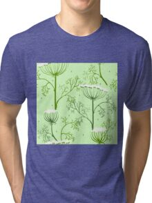 Elegance Seamless pattern with flowers, vector floral illustration in vintage style, Ukraine, dill Tri-blend T-Shirt