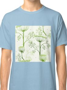 Elegance Seamless pattern with flowers, vector floral illustration in vintage style, Ukraine, dill Classic T-Shirt