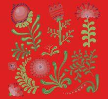 Set of symmetrical floral graphic design elements Kids Clothes