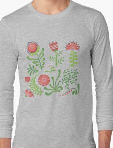 Set of symmetrical floral graphic design elements Long Sleeve T-Shirt