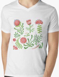 Set of symmetrical floral graphic design elements Mens V-Neck T-Shirt